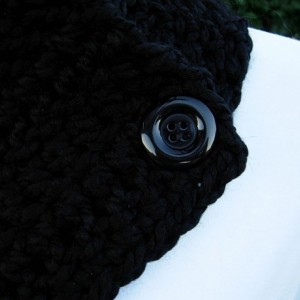 Solid Black NECK WARMER SCARF Buttoned Cowl, Soft Wool Blend, Black Buttons, Thick Bulky Chunky Winter Crochet Knit Ready to Ship in 3 Days
