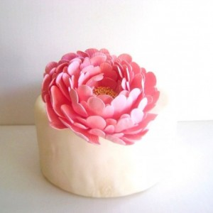Coral Pink Peony Cake Flower Clay Flower Cake Topper Blush Wedding Cake Flower Wedding Cake Decor Wedding Cake Topper