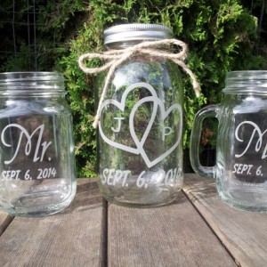 Sand Ceremony Mason Jar with Matching Mugs