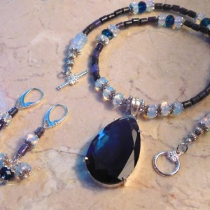 Lapis Lazuli stone beads Necklace in the center 925 Sterling Silver Overlay SAPPHIRE QUARTZ pendant and matching earrings set.#NBES0099