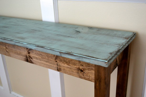 The Shannon Distressed Blue Long Pine Sofa Table