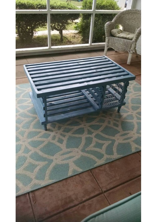 Free Shipping Handmade Wooden Lobster Trap Coffee Table West Coast Blue Finish