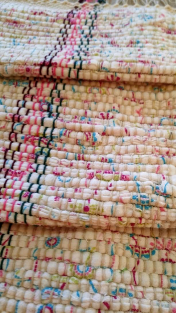 Handmade Rag Rug Bath Recycled Shabby