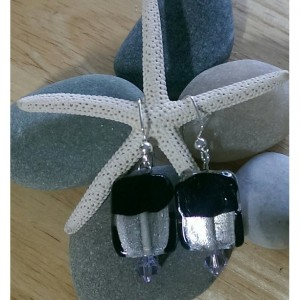 Black and Silver Lampwork Earrings