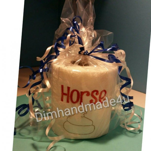 Horse Poo Embroidered Toilet paper. Great gift! Comes gift wrapped!