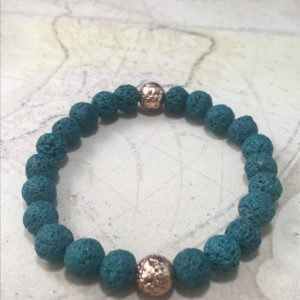 The Griffin | handmade beaded stretch bracelet, teal volcanic lava rock beads, rose gold, blue green, men's / unisex jewelry, Gifts for Him
