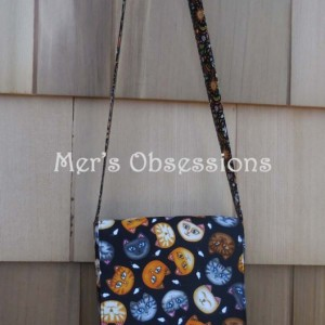Mini Messenger Bag, Black Fabric, Cats
