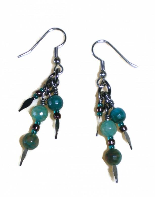 Blue Agate Dangle Earrings