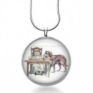 Girl with Dog Necklace - Animal Jewelry - Holiday Pendant - Gift