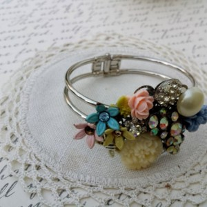 Vintage Inspired Jewelry, Flower Bracelet, Repurposed Vintage Jewelry, Cuff Bracelet Silver, Statement Bracelet, Wedding Jewelry for Brides