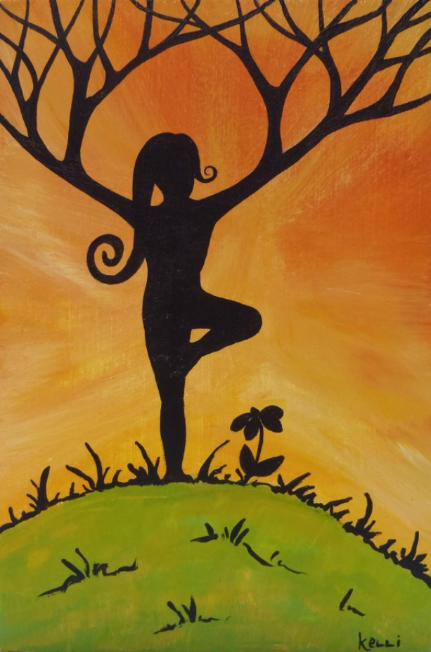 """Yoga Tree on the Hill"" original painting"