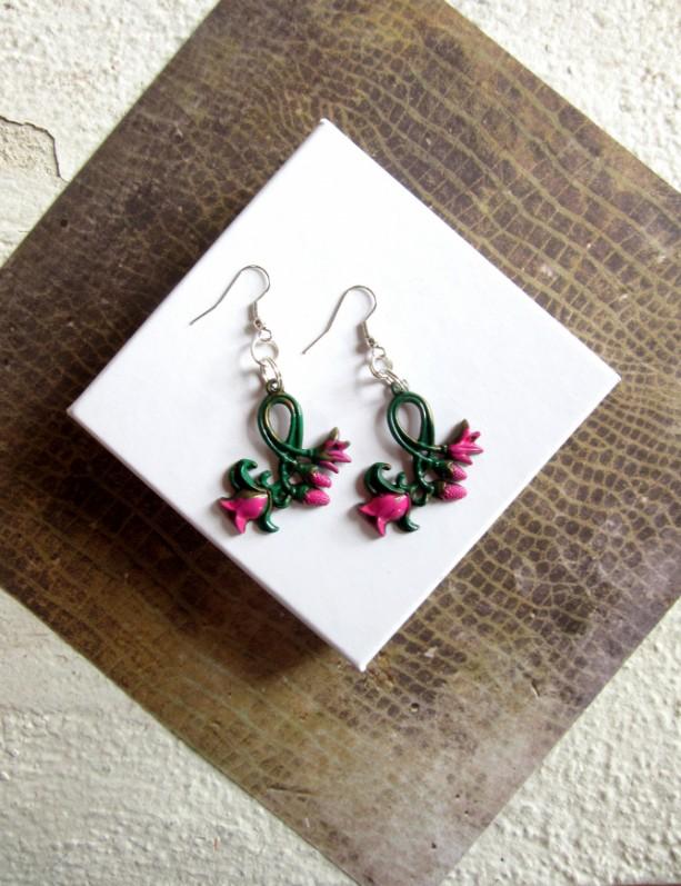 Pink Flower Earrings, Floral Earrings, Pink Tulip Earrings, Tulip Jewelry, Garden Earrings, Hand Painted Earrings, Earring Pair, Stamp Metal