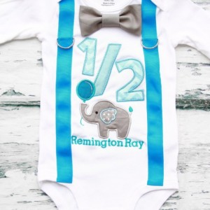 Boy 6 Months birthday Outfit half birthday elephant Outfit birthday boy 1/2 elephant zoo half birthday outfit birthday family shirts