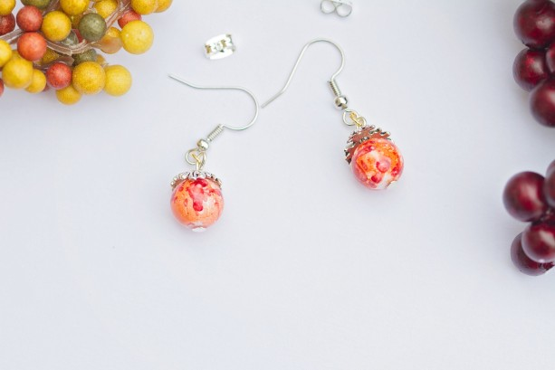 Fall style light weight single bright orange and red glass bead earrings/Under 20 dollars/Nickel free
