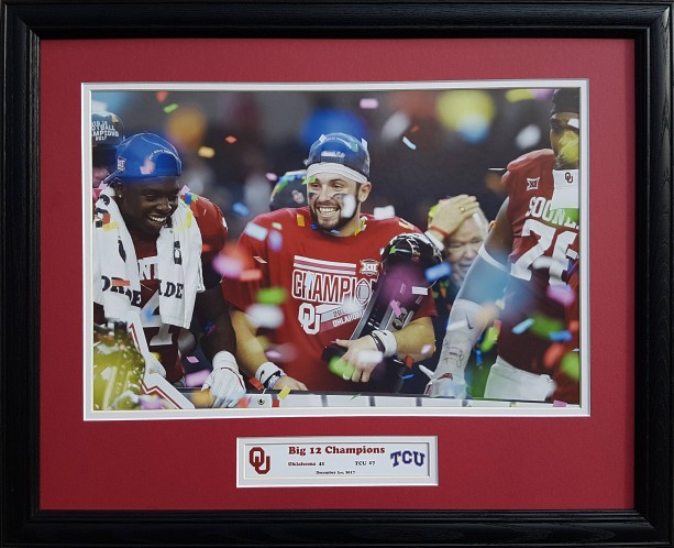 Oklahoma Sooners 2017 Big 12 Champions Baker Mayfield custom framed picture