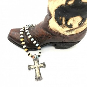Boho Amazonite Necklace with Leather Spacer and Hammered Cross