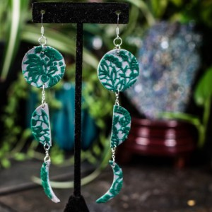 Polymer clay lace lunar cycle dangle earrings