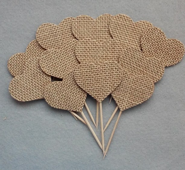 Burlap Fabric Cupcake Toppers, Wedding Cupcake Toppers, set of 12