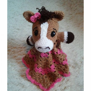 Crochet Pony Lovey, Baby Blanket, Comfort Blanket, Security Blanket, Baby Shower Gift