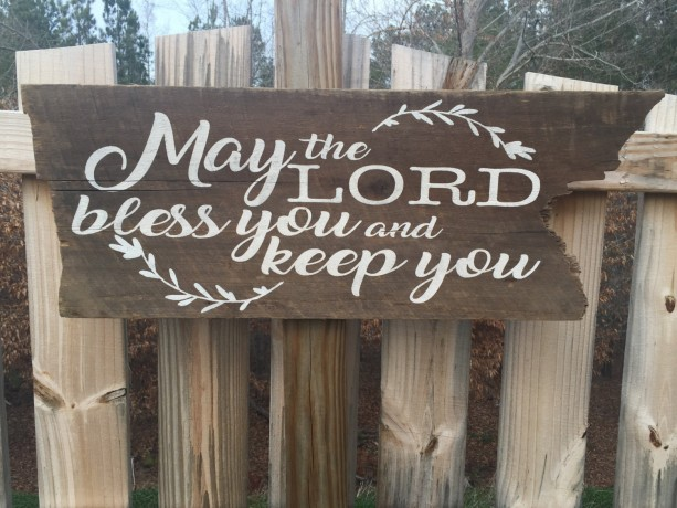 "Hand made and painted ""May the Lord bless you and keep you"" wall hanging sign"