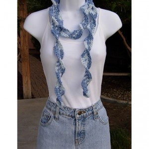 Faded Denim Blue Skinny SUMMER SCARF Small 100% Cotton Spiral Crochet Knit Narrow Lightweight Warm Weather Scarf, Ready to Ship in 2 Days
