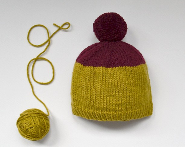 Hand knit wool baby hat -- knitted hat with pompom