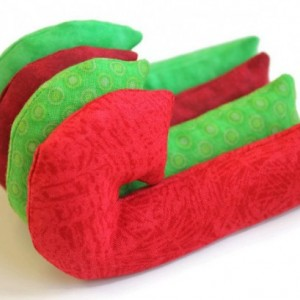 Christmas Candy Cane Shaped Red and Green Bean Bags (set of 4) Rice-filled Ornament - US Shipping Included