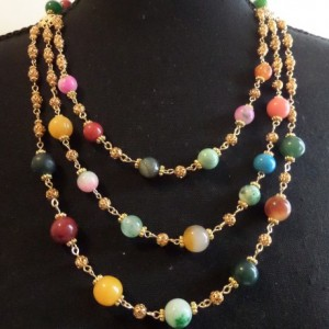 Triple-Strand Necklace and Earring set with multi colored quartz beads and antique metal beads