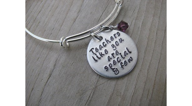 "Teacher's Bracelet- ""Teachers like you are special and few"" with an accent bead in your choice of colors- Gift for Teacher"