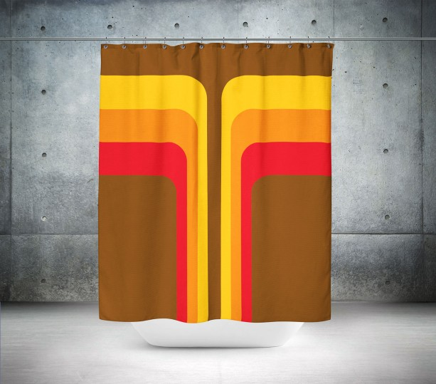 Brown Retro Shower Curtain