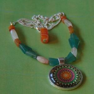Green Pink Orange Ornate Geometric Silver Toned Round Glass Round Pendant Polished Stone Beaded Necklace