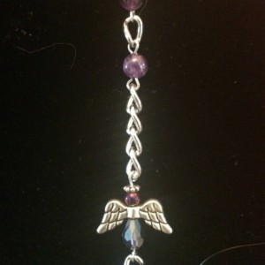 "21"" Purple Angel Glass Beaded Necklace Lanyard ID Badge Clip"