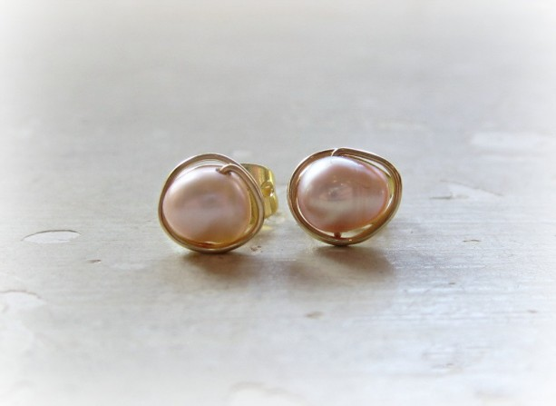 Mauve Post Earrings Gold Wire Wrap Studs Pearl Posts Freshwater Stud