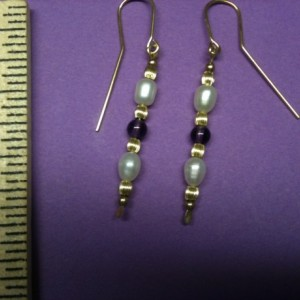 14 K Goldfilled Freshwater Pearl and  Amethyst Dangle Earrings