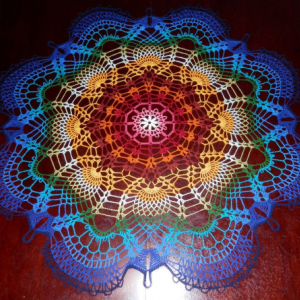 "Stunning Handmade Crochet Tablecloth Doily, 35.5"" ""Rainbow Peacock Tail"", Cotton 100 %"