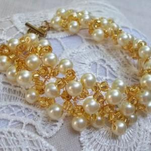 Ivory Pearl Wedding Bracelet Bridal Vintage Style Cuff Bracelet Ivory Pearl Topaz Glass Seed Bead Crocheted Silver Plated Wire  Bracelet