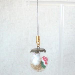 Christmas Ornament Snow Dome Rabbit and Mushroom Handmade Holiday Tree Moss Bunny Holiday Decoration