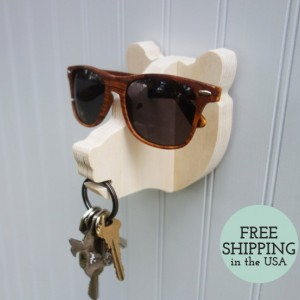 Key hook - Bear head wall hanger for keys, glasses, and sunglasses