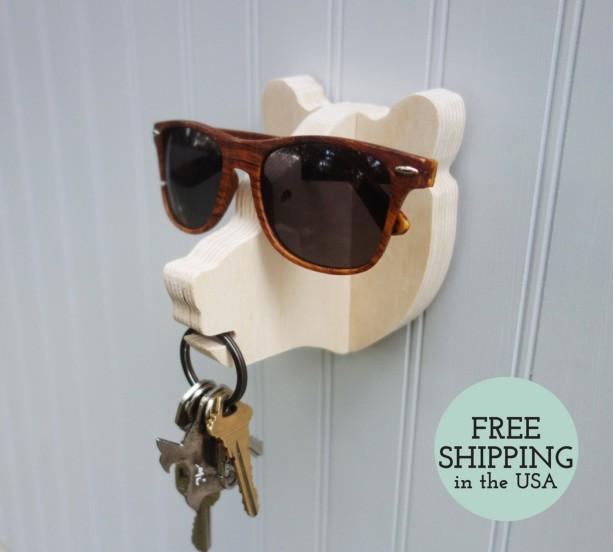 Key hook - Bear head wall hanger for keys, glasses, and sunglasses