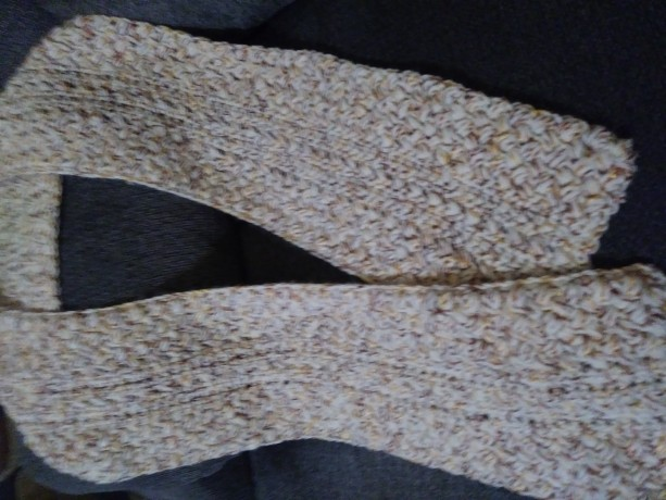 Oatmeal and Gold Crocheted Scarf