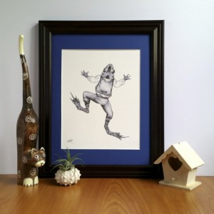 Steampunk dressed Frog Fine Art Print, pencil drawing, Vintage Victorian inspired, Frog and Toad, Beatrix Potter Illustration, Amphibian Art