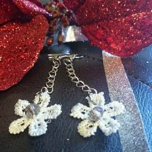 Lace Earrings, Flower Earrings, Lace and Crystal Earrings