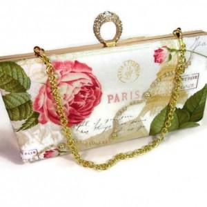Box Clutch,  Minaudiere Purse, Kiss Lock Clutch, Paris Rose Box Clutch, Metal Frame Purse, Bags and Purses, Bridal Clutch, Evening Clutch