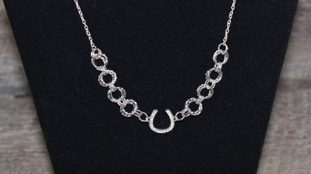 Silver Bling Horseshoe Chainmaille Necklace