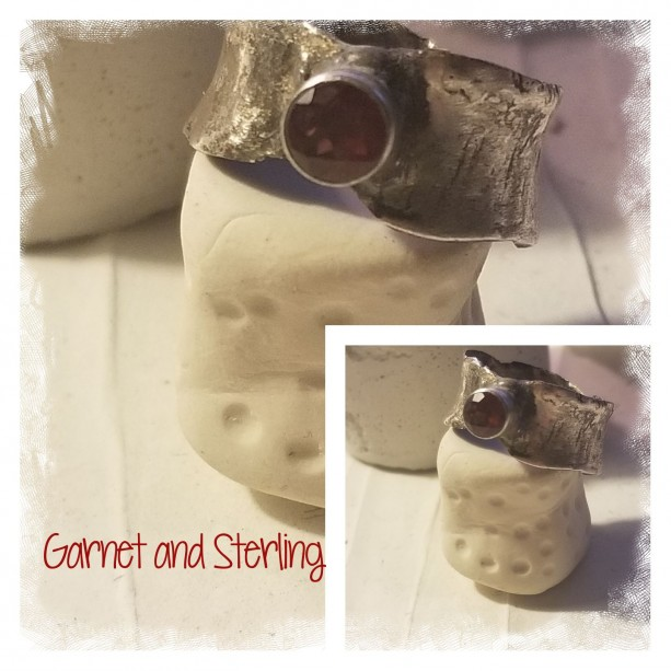 Garnet and Sterling ring
