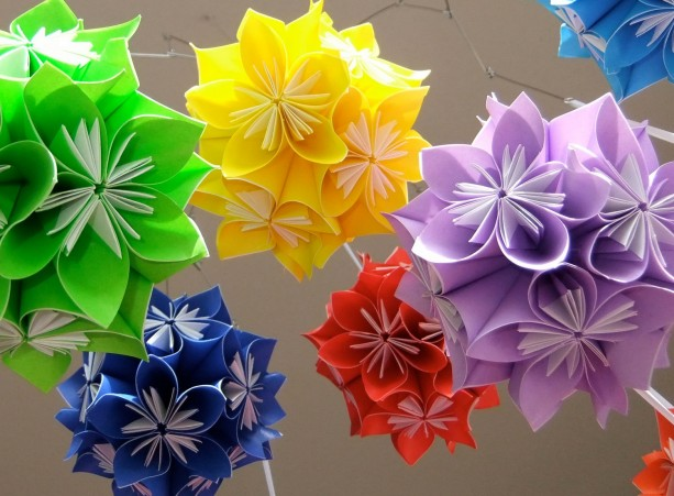 Rainbow origami flower ball mobile aftcra baby rainbow starburst flower ball mobile flower mobile ball mobile nursery mobile mightylinksfo