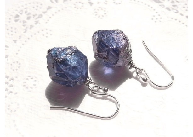 Earrings Navy Color Plastic Beads Looks Like Meteorite or Crystal Galaxy Vintage Beads Drop Dangle Jewelry Accessory Space Cosmo