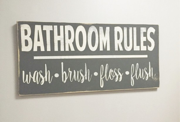 Bathroom Rules - Wash, Brush, Floss, Flush - Bathroom Sign, Bathroom Decor, Wood Sign, Home Decor, Fixer Upper, Farmhouse Style Sign,