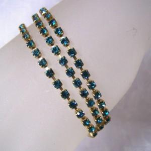 Bracelet Triple Strand Crystal Cup Chain Tennis Bracelet