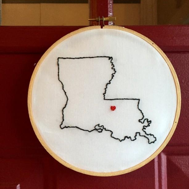 Custom Louisiana Embroidery Hoop Art Wall Hanging